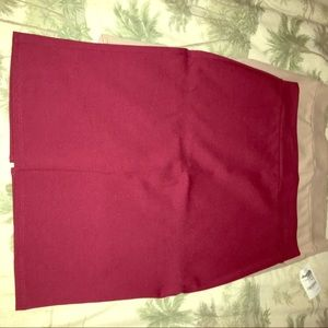 Tan  and burgundy pencil skirt with split in back